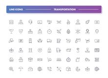 Set of 60 line icons. Transportation. Collection. Vector illustration for shipping, delivery and logistics Stock Photography