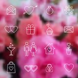 Set of line icons for Valentine day or wedding Stock Image