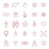 Set of line icons for Valentine day or wedding. Vector set of line icons for Valentine day or wedding design Royalty Free Stock Photo