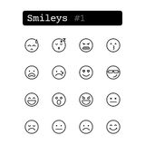 Set line icons. Vector. Smileys Royalty Free Stock Photos