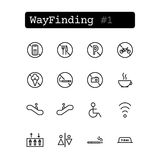 Set line icons. Vector. Wayfinding Stock Images