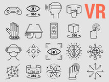 Set of line icons - virtual reality. Vector set of thin line icons - virtual reality modern computer entertainment Royalty Free Stock Photography