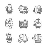 Set line icons of water pump. On white. Vector illustration Stock Photography