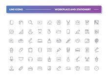 Set of 60 line icons. Workplace and stationery. Collection. Vector illustration for office or freelance work Royalty Free Stock Image