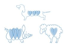 Set of line images of domestic animals - dogs, sheep, pigs. Pets or symbols of the Chinese horoscope. Collection of vector illustration