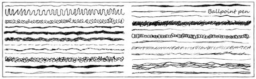 Set of artistic pencil brushes. Hand drawn grunge strokes. Vector illustration. Set of line ink strokes ballpoint pen. Collection of grunge brushes with rough royalty free illustration