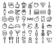 Set of Line Kitchen and Food Icons on White Background. Set of Line Kitchen and Food Icons on White Background Royalty Free Stock Image