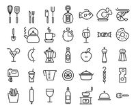 Set of Line Kitchen and Food Icons on White Background. Set of Line Kitchen and Food Icons on White Background Stock Photography