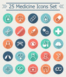 Set of line Medicine Icons in flat style with long shadow in the middle of circle every icon. Set of 25 line Medicine Icons in flat style with long shadow in the Royalty Free Stock Images