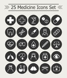 Set of 25 line Medicine Icons white on the black  circle background. Set of 25 line Medicine Icons white on the black background Royalty Free Stock Photos