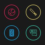 Set line Mobile with baseball ball, Speech bubble chat, Baseball bat and icon. Vector