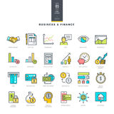 Set of line modern color icons for business and finance Stock Image