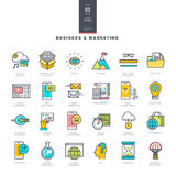 Set of line modern color icons for business and marketing Royalty Free Stock Photography