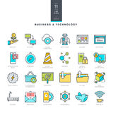 Set of line modern color icons for business and technology Stock Photo
