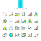 Set of line modern color icons of charts and graphs Royalty Free Stock Image