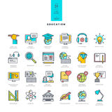 Set of line modern color icons for education Stock Photos