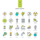 Set of line modern color icons for green energy Stock Photos