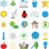 Set of line modern color icons for green energy. Vector set of line modern color icons for green energy Royalty Free Stock Image