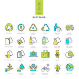 Set of line modern color icons for recycling Stock Image