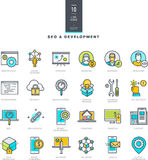 Set of line modern color icons for SEO and web development Stock Image