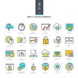 Set of line modern color icons for SEO and website development Royalty Free Stock Photos