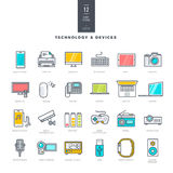Set of line modern color icons for technology and electronic devices Stock Image