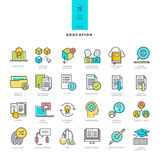 Set of line modern color icons on the theme of education Stock Photo