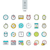 Set of line modern color icons on the theme of time Royalty Free Stock Photo