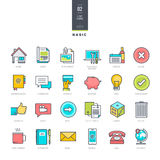 Set of line modern color icons for website design. Set of vector line color icons Stock Photos