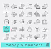 Set of line money and business icons. Stock Photography