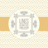 Set of line pattern and linear frame Royalty Free Stock Image