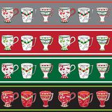 Set of line patterns with cups Stock Image