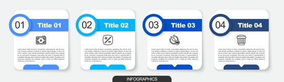 Set line Photo camera, Exposure compensation, Camera timer and photo lens. Business infographic template. Vector
