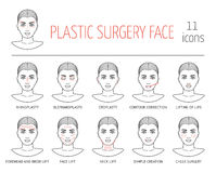 Set of line plastic surgery face icons. Flat design. Vector Royalty Free Stock Photo