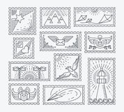 Set of line postage stamps Stock Images