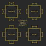 Set of line retro gold frame 1920 style. Vector Royalty Free Stock Photography