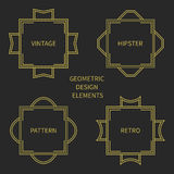 Set of line retro gold frame 1920 style. Vector Royalty Free Stock Photo