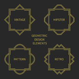 Set of line retro gold frame 1920 style. Vector Stock Image