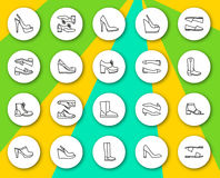 Set of line round icons with shadows. Different women shoes Stock Photo