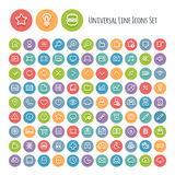 Set of Line Round Universal Icons vector illustration