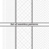 Set of line seamless backgrounds with   dotted line Royalty Free Stock Photos