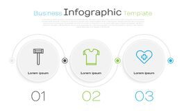 Set line Shaving razor, T-shirt and Heart with cross. Business infographic template. Vector