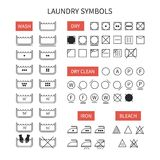 Set of  line simple washing instruction symbols . Stock Image