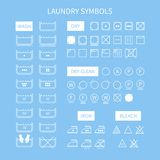Set of  line simple washing instruction symbols . Royalty Free Stock Images