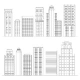 Set of line skyscrapers. Black and white Royalty Free Stock Photo