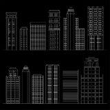 Set of line skyscrapers. Black and white Royalty Free Stock Image