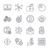 Set of line stroke  bitcoin and cryptocurrency icons.. Mining, coin, pickaxe, gold, money, exchange. Icons set for apps, programs, sites and other. Editable Stock Photos