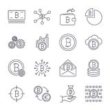 Set of line stroke vector bitcoin and cryptocurrency icons. Mining, coin, pickaxe, gold, money, exchange. Icons set for stock illustration