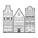 Set of 3 line style Amsterdam old houses facades Stock Photography