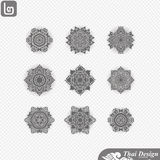 Set of  Line thai art design Stock Images